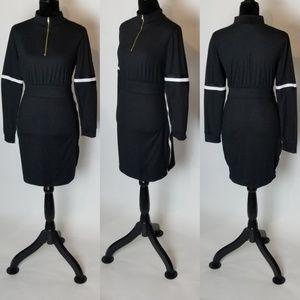Dresses & Skirts - Black High Neck Stripe Long Sleeves Mini Dress